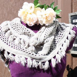 Hikers Grey BOHO knitted Infinity Scarf